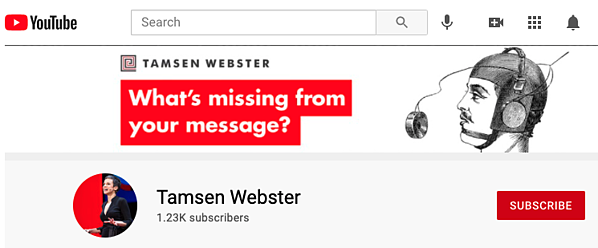 subscribe to Tamsen Webster YouTube channel